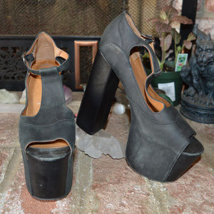 Jeffrey Campbell Leather Big Foxy High Heel chunky